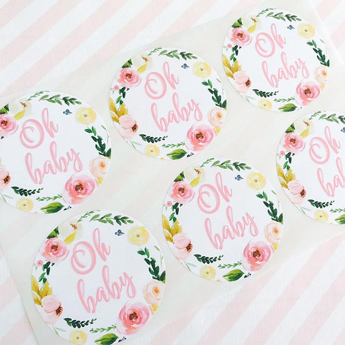Floral Baby Shower Stickers