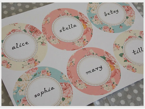 Alice in Wonderland Name Stickers
