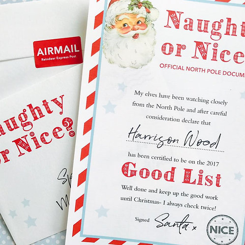 Naughty or Nice Certificate- GOOD LIST
