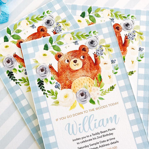 Teddy Bears Picnic Party Invitations (boy)