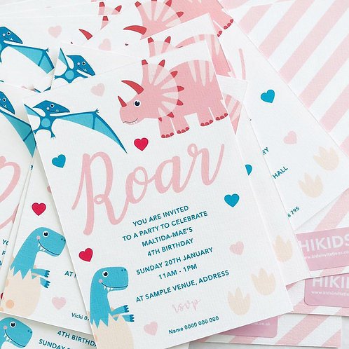 Dinky Dino Invitations (girl)