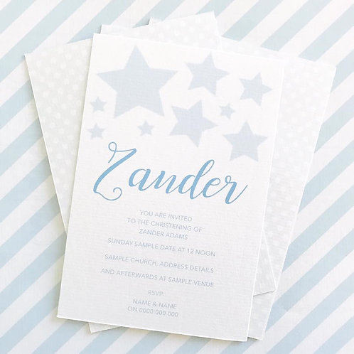 Star Christening Invitation (Boy)