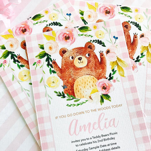Teddy Bears Picnic Party Invitations (girl)