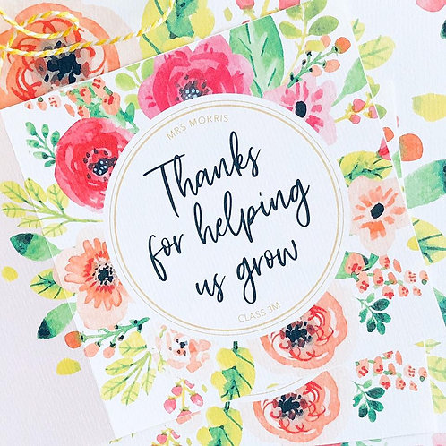 Floral Thank You Teacher Card