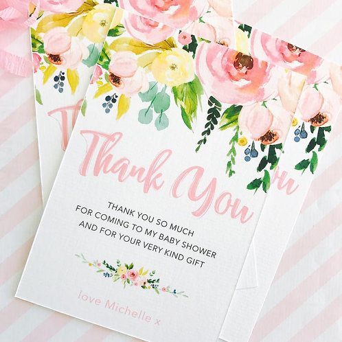 Floral Baby Shower Thank You Cards