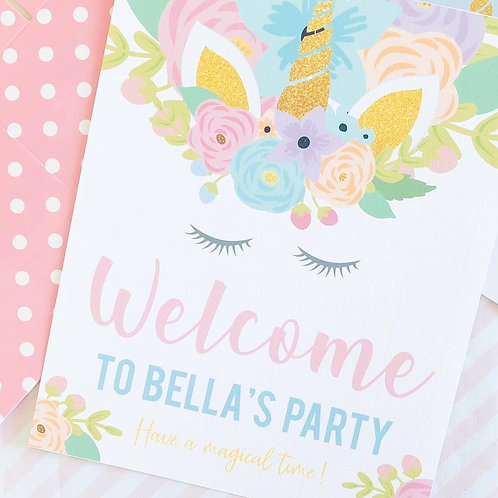 Floral Unicorn Party Sign