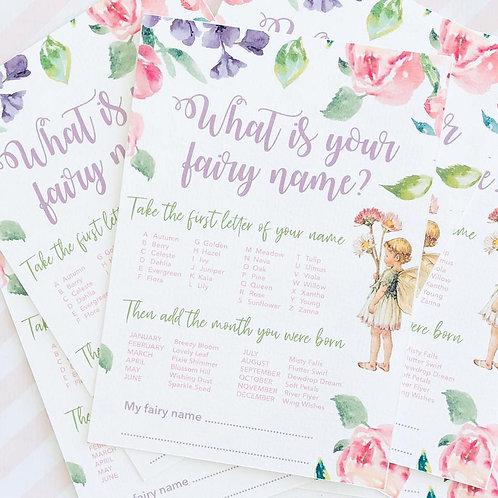 Flower Fairy Name Cards