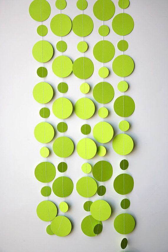 Green paper garlands