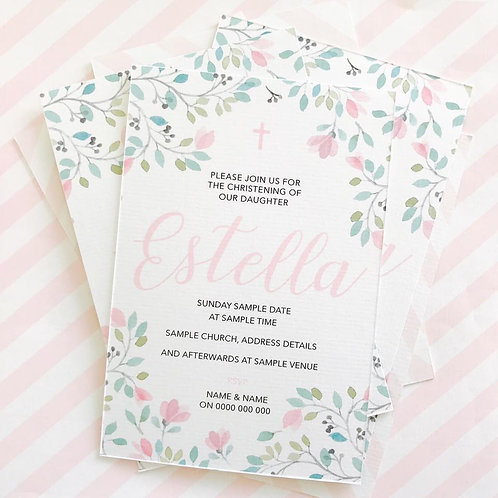 Floral Christening Invitations (Girl)
