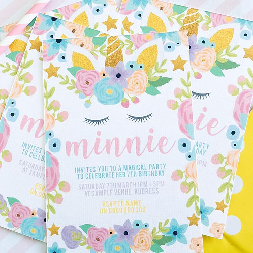 Floral Unicorn Invitations