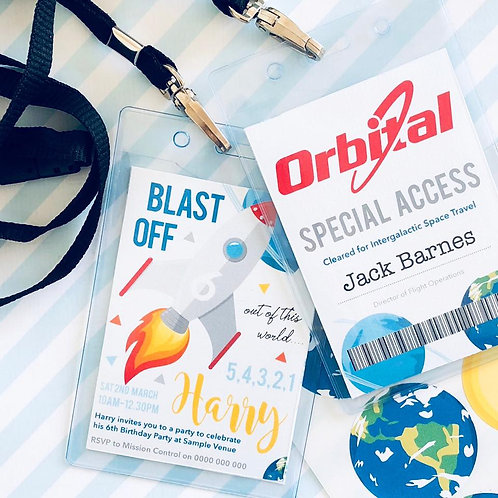 Space Party Lanyard Invitations