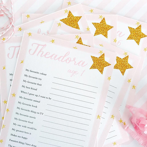 Pink Glitter Star Question Cards