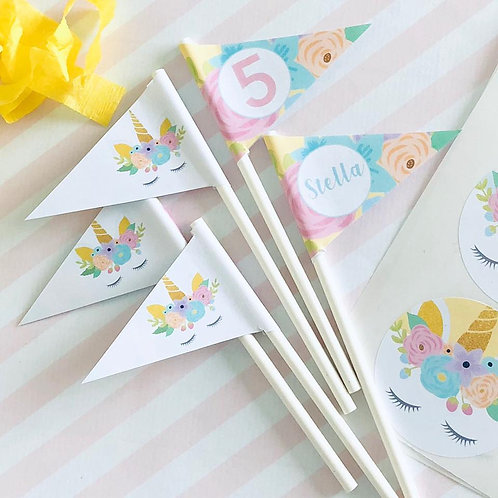 Floral Unicorn Mini Flags
