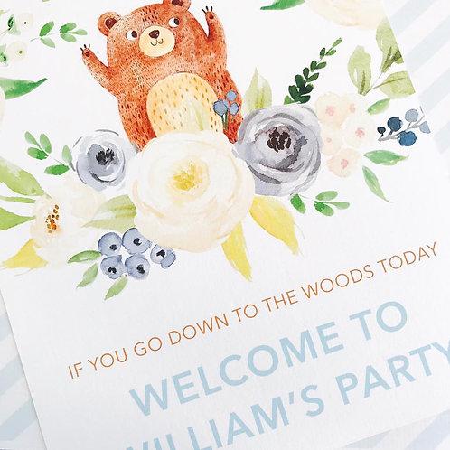 Teddy Bears Picnic Party Sign (boy)