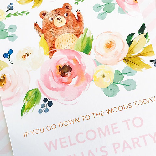 Teddy Bears Picnic Party Sign (girl)