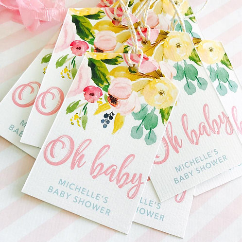 Floral Baby Shower Tags