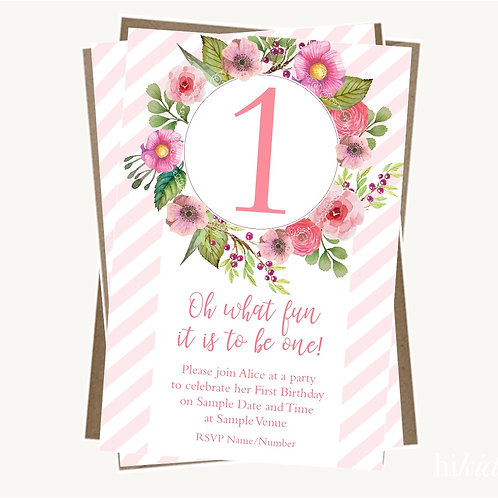 First Birthday Party Invitations (girl)
