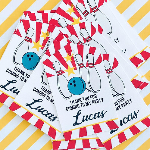 Bowling Party Tags