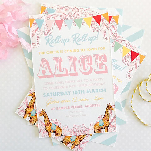 Vintage Circus Party Invitations (girl)