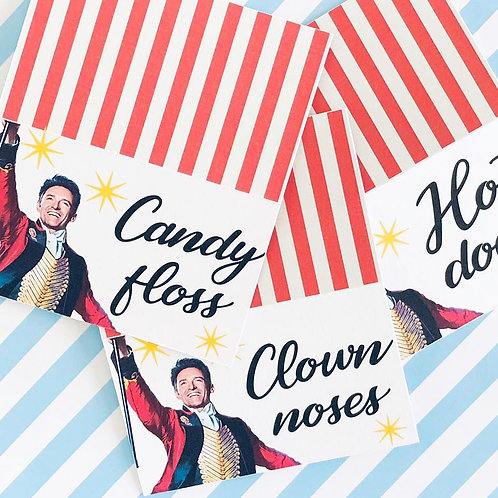 Greatest Showman Food Tent Cards