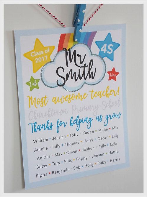 Personalised Class Teacher Print