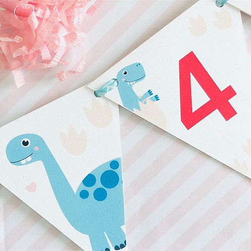 Dinky Dino Party Bunting (girl)