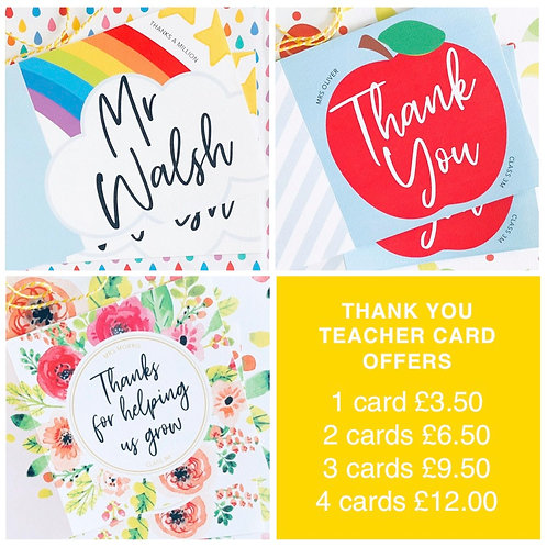 Special Offer- 3 x Teacher Cards