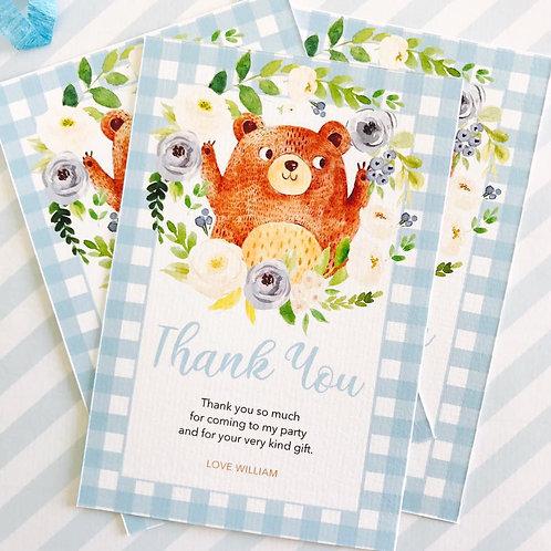 Teddy Bears Picnic Thank You Cards (boy)