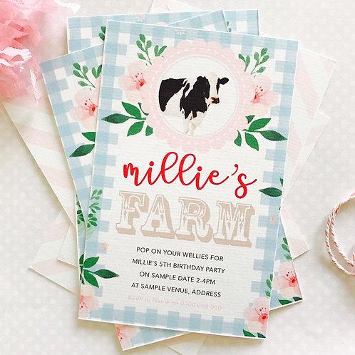 Vintage Farm Party Invitations (girl)