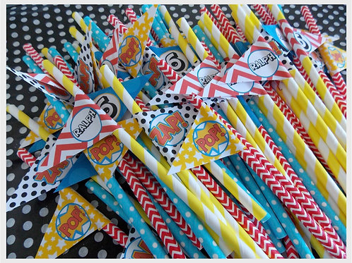 Superhero Party Straws