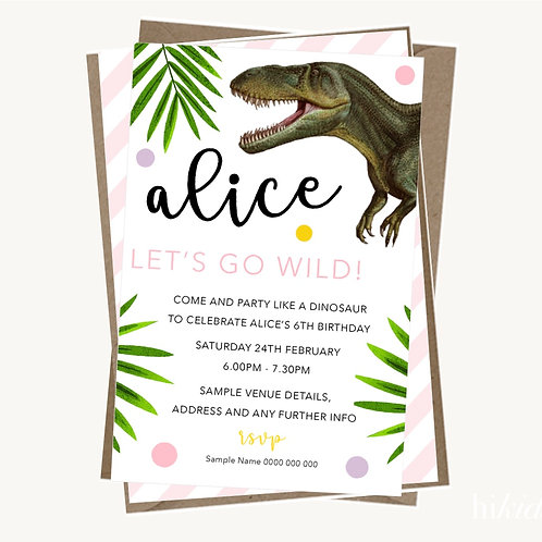 Dinosaur Party Invitations (girl)