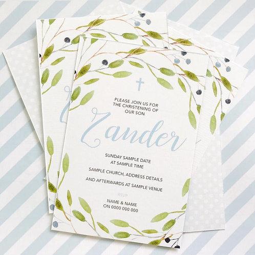 Floral Christening Invitations (Boy)