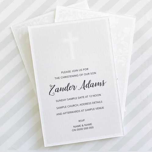 cross christening invitation neutral