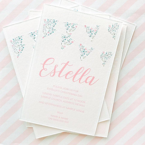 Bunting Christening Invitations (Girl)