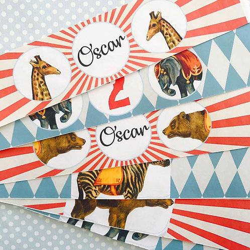 Circus Bottle Labels