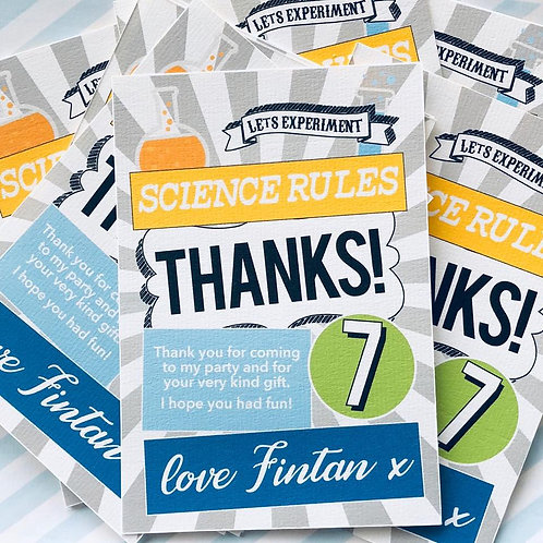 Science Party Thank You Cards