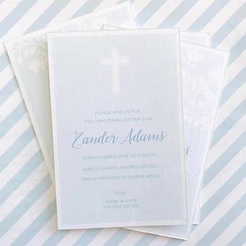 Cross Christening Invitations (Boy)