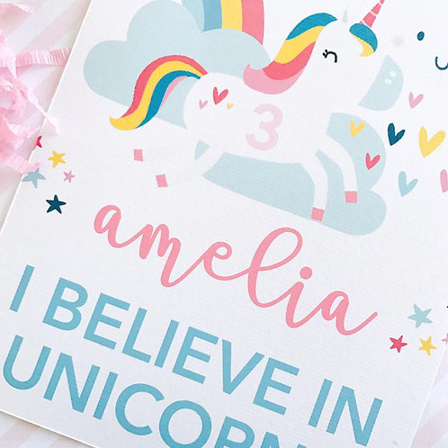 Cute Unicorn Party Sign