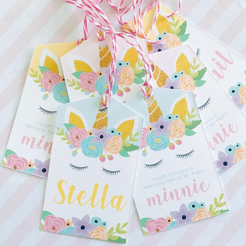 Floral Unicorn Tags