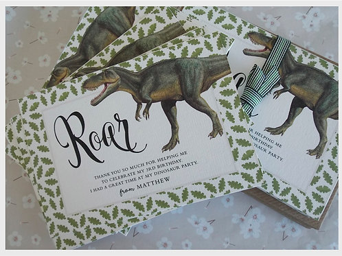 Dinosaur Roar Thank You Cards with message