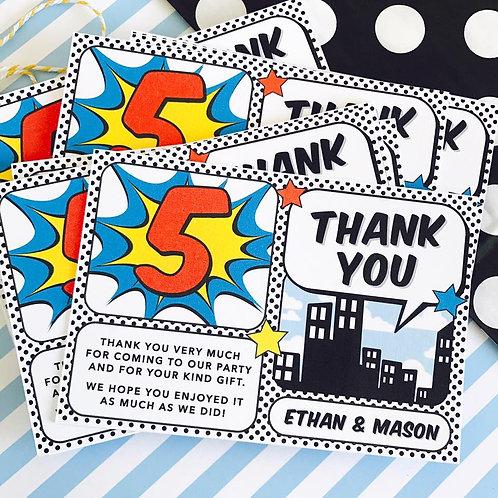 Superhero Thank You Cards
