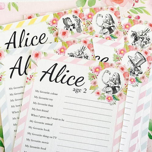 Alice in Wonderland Question Cards