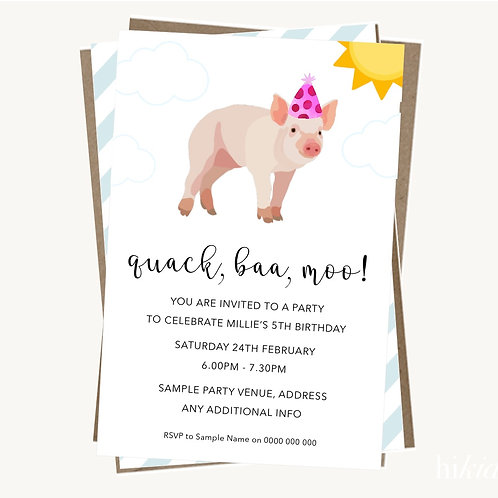 Party Pig Invitations (girl)