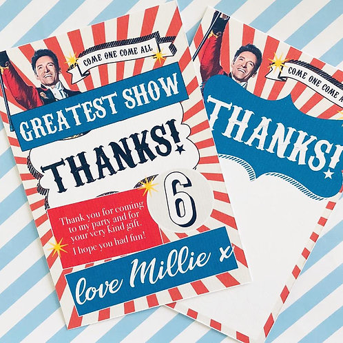 Greatest Showman Thank You Cards