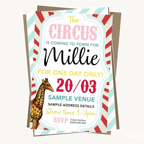 Circus Party Invitations (girl)