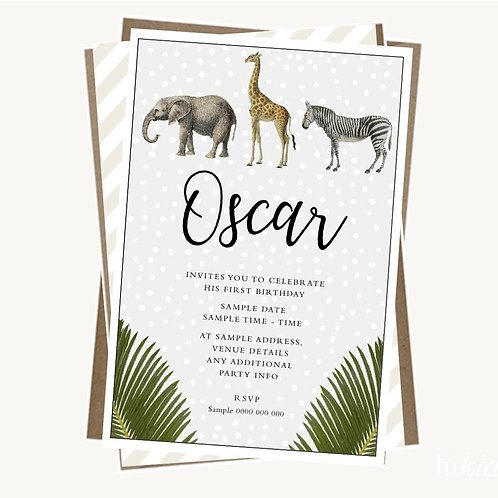 Vintage Safari Party Invitations