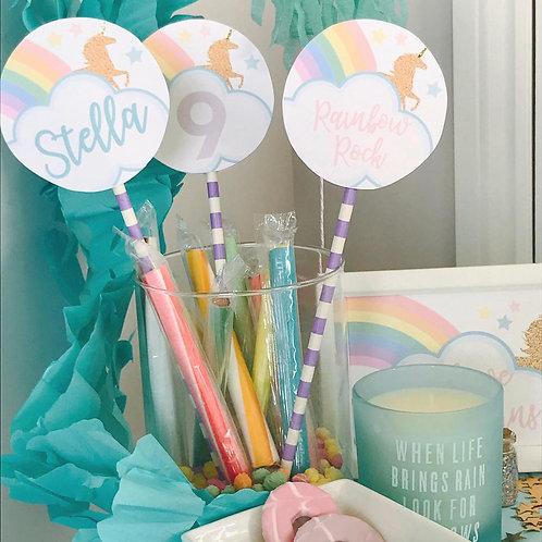 Unicorn Lollipop Style Decorations