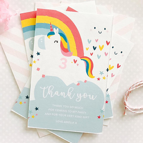 Cute Unicorn Thank You Cards