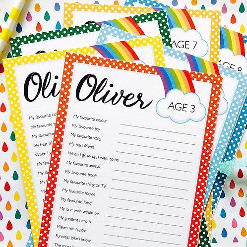 Rainbow Question Cards (boy)