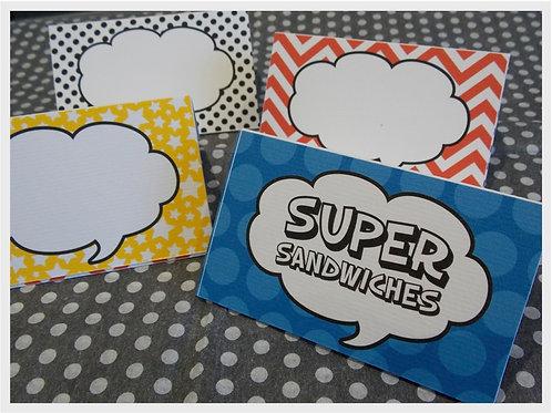 Superhero Food Tent Cards